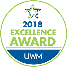 2018 Excellence Award badge by United Wholesale Mortgage
